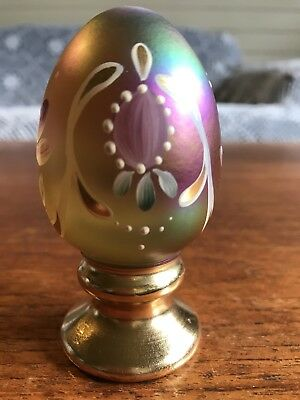 Fenton Limited Edition Hand Painted Art Glass Egg Signed J K Spindler #93/2500