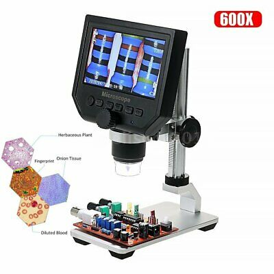 "600X 3.6MP USB Digital Microscope 4.3"" Display LCD Electronic HD Video Stand Kit"