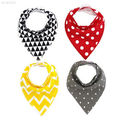 7AB9 4Pcs/Set Baby Bib Triangle Double Layers Infants Feeding Bibs Cute Random C