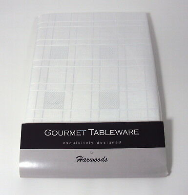 "A Large Rectangular White Chequers Tablecloth 70"" x 108 (178cm x 275cm)"