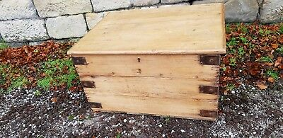 Antique Pitch Pine Chest Trunk Storage Coffee Table