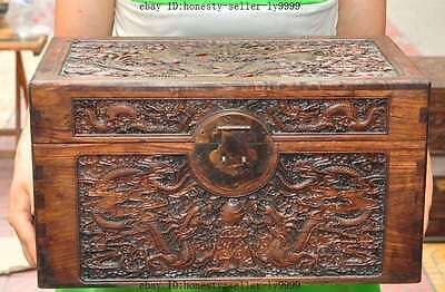 old chinese huanghuali wood Hand-carved animal dragon Play Beads Antique boxes