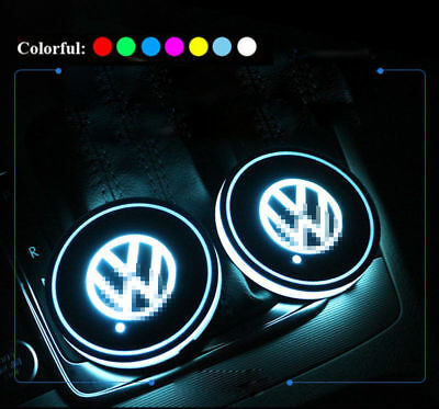 2Pcs  for Volkswagen VW LED Car Cup Holder Pad Mat Auto Atmosphere Lights Gifts
