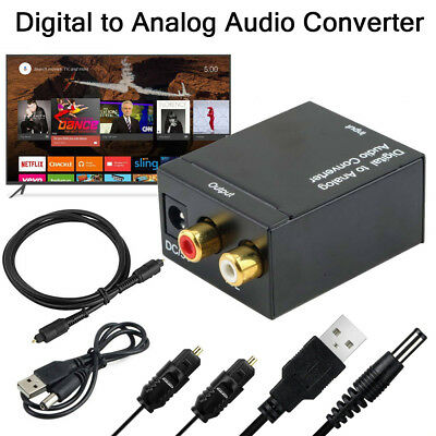 Digital Optical Coaxial Toslink to Analog RCA L/R Audio Converter Adapter Cable