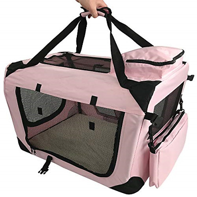 RayGar PINK DOG PUPPY CAT KITTEN PET SOFT FABRIC PORTABLE FOLDABLE STRONG CRATE