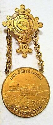 Knights Templer Masons Medal 1904 29Th Triennial Conclave San Francisco Lick Obs