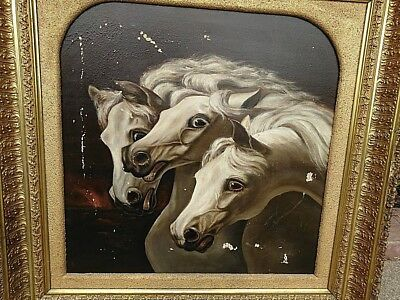 1800s Pharaoh's Horses Painting + Antique Gold Ornate Gilt Wood Frame Damaged
