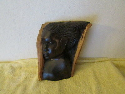 African Hand Carved Wood Sculpture Tribal Art Statue Women Resting