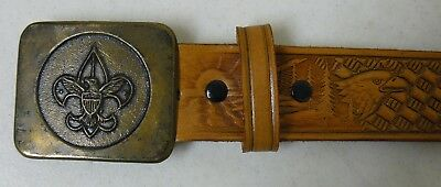 Boy Scout Tooled Leather Belt and Brass Buckle