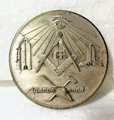 """""""made A Mason"""" Silver Coin, Entered, Passed, Raised... Unascribed"""