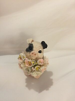Vintage Collectible Resin Pig w/Bouquet of Flowers