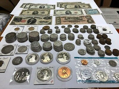 Large Collection US Gold and Silver Coin Lot, Paper Money, Dollars, Half Dollars
