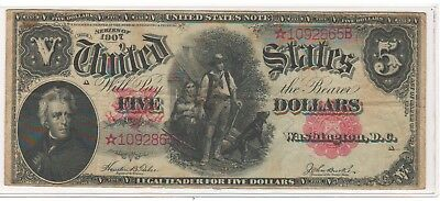 """Series of 1907 $5 """"Woodchopper"""" STAR Note"""