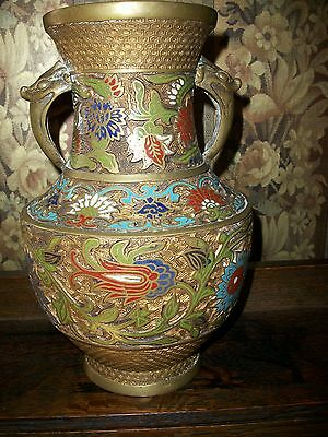 Hand Painted Champleve/Cloisonne VASE Large URN Bronze from JAPAN RARE ANTIQUE