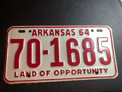 1964 ARKANSAS LICENSE PLATE The Razorback Red And White Colors