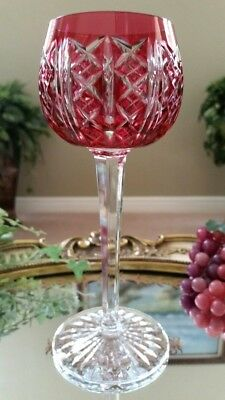 Vintage St Louis Riesling Cranberry Red Cut to Clear Crystal Wine Glass, SIGNED