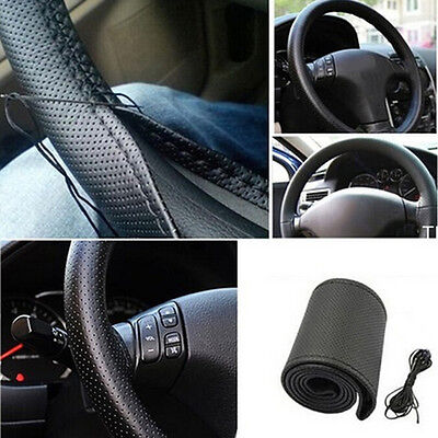 New Car Truck Leather Steering Wheel Cover With Needles and Thread Black DIYBIC