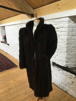 Vintage 1980s Fake Fur Nearly Black Coat Size10