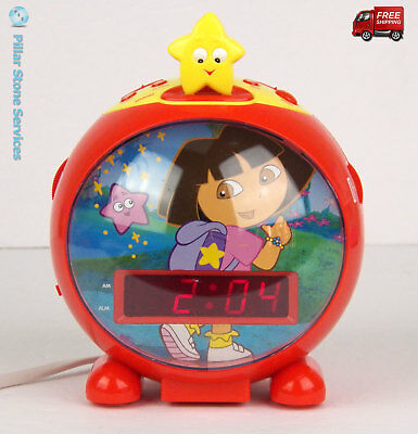 Dora the Explorer Red Digital AM FM Radio Alarm Clock -Excellent - FREE SHIPPING
