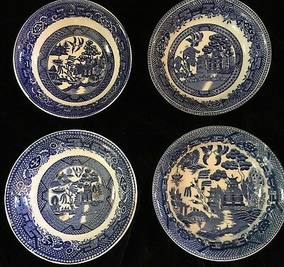 Antique Blue Willow 4 Berry Bowls England Japan Holland USA Lot Assorted