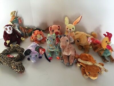 9f405a28764 TY Beanie Babies - THE CHINESE ZODIAC - (Complete set of 12) RETIRED MINT
