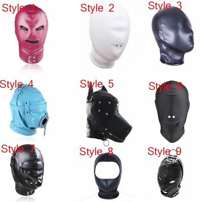 PU Leather Head Bondage Game Mask Hood Party Animal Bdsm Slave Sissy Maschera