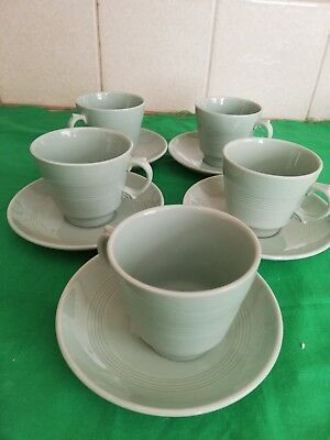Vintage Woods Ware Beryl Green Tea Cups And Saucers
