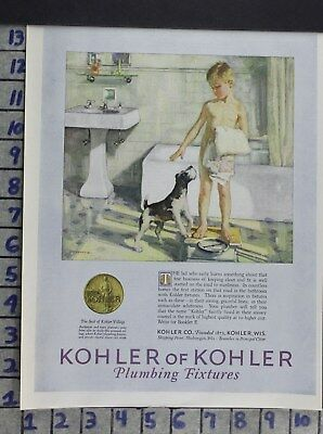 1926 Kohler Bath Sink Tub Boy Naked Youth Scale Dog Home Deco Vintage Art Addw04