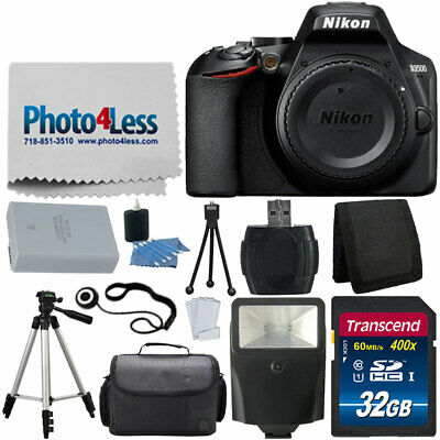 Nikon D3500 Digital SLR DSLR Camera Body Black +32GB Top Value Accessory Kit New
