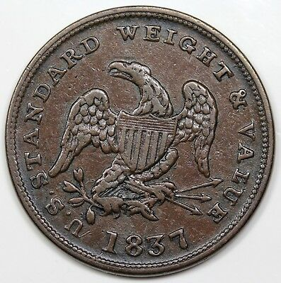 1837 Half Cent Hard Times Token, XF