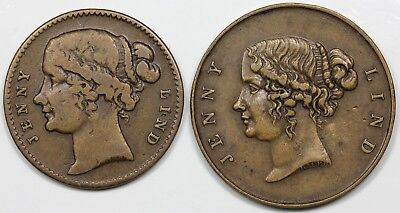 Pair of circa 1850 Jenny Lind tokens, nice VF-XF