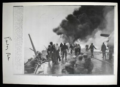 "Vintage 1945 SS Sarasota Deck on Fire Japan Attack 12x17"" WWII Photo #4 A"