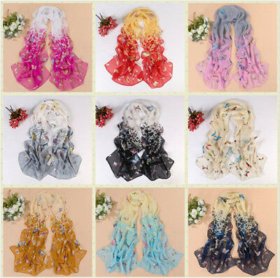 Fashion Women's Chiffon Butterfly Floral Scarf Soft Wrap  Lady Long Shawl Color