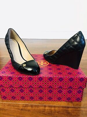 0c8f2e997b9 TORY BURCH CLAREMONT Quilted Leather Wedge Pump Black Size 5.5 ...