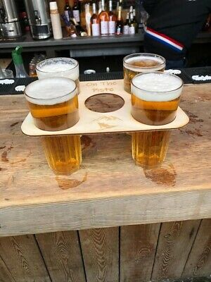 Skiing, Beer Tray, Pint Drinks Holder, Festival Tray (Free Personalisation).