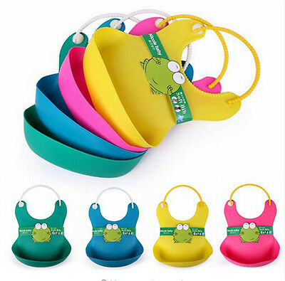 Cute Baby Soft Silicone Bib Waterproof Saliva Dripping Kid Infant Lunch Bibs BLD