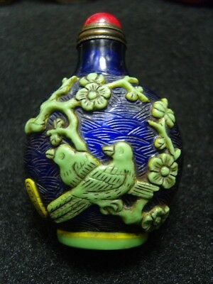 Exquisite Chinese Peking glass hand carved snuff bottle- See Video       1