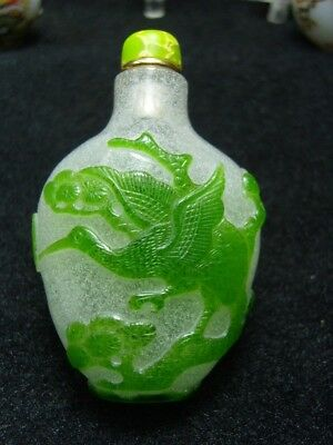 Exquisite Chinese Peking glass hand carved snuff bottle- See Video        5