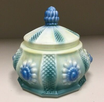 Vtg 1930's UNUSUAL Molded Floral MILK GLASS Jar Dish Blue w/ Cover
