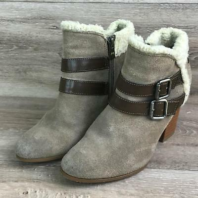 bb83f4032d320 libby edelman Suede Strappy Women s Size 7 Ankle Boots Fur lined