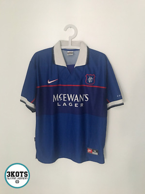 GLASGOW RANGERS 1997 Home Football Shirt (M) Soccer Jersey Vintage NIKE Maglia