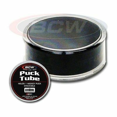(2) BCW Hockey Puck Round Tube Display Case Holders - FREE SHIPPING