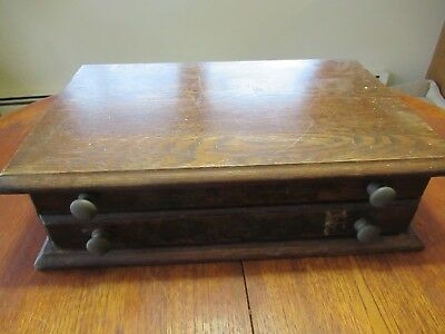 Vintage Oak Watchmakers Counter Top Watch Parts Cabinet