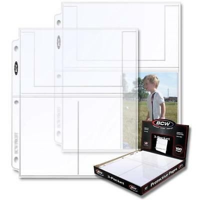 Lot of 10 BCW 3-Pocket 4x6 Postcard / Photo Pages binder sheets