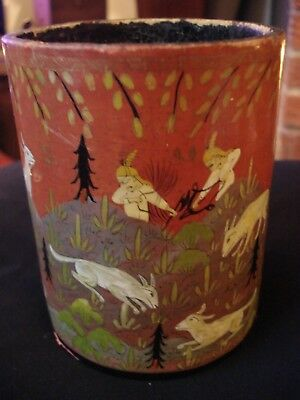 Antique Oriental Hand Painted (Hunting Scene) Lacquered Brush Pot