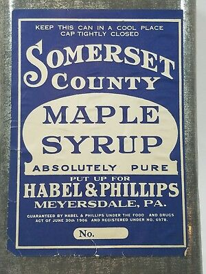 OLD Somerset County, PA maple syrup 1 gallon tin can