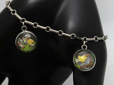 Alice in Wonderland Essex Reverse Painted Intaglio Crystal Charm Bracelet