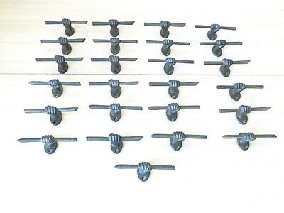 "25 Cast Iron Hand And Stick Brown 5"" Ornate Drawer Pulls Cabinet Bin Handles"