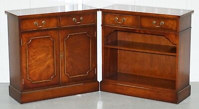 Pair Of Yew Wood Bradley Furniture England Rrp £1874 Bookcases Cabinet Drawers