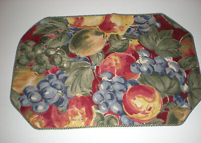 Set of 6 Green Gold Red Blue Fruit Cloth Placemats with Green Trim